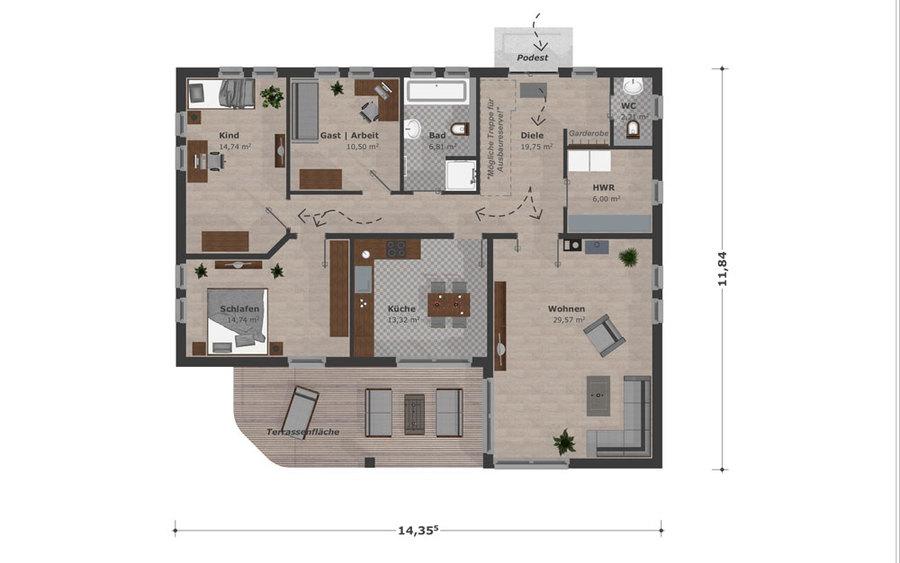 Holzhaus bungalow grundriss  Bungalow- Kleinfamilie- Schwesig & Söhne GmbH